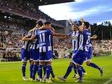 Juanfran celebrates with teammates after scoring for Deportivo La Coruna against Rayo Vallecano on September 14, 2015