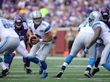 Matthew Stafford #9 of the Detroit Lions looks for the hand off against the Minnesota Vikings at TCF Bank Stadium on September 20, 2015 in Minneapolis, Minnesota.