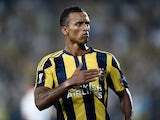 Fenerbahce's Luis Nani celebrates after scoring a goal during the Europa League football match between Fenerbahce and Molde on September 17, 2015 at the Ulker Fenerbahce Sukru saracoglu stadium in istanbul.