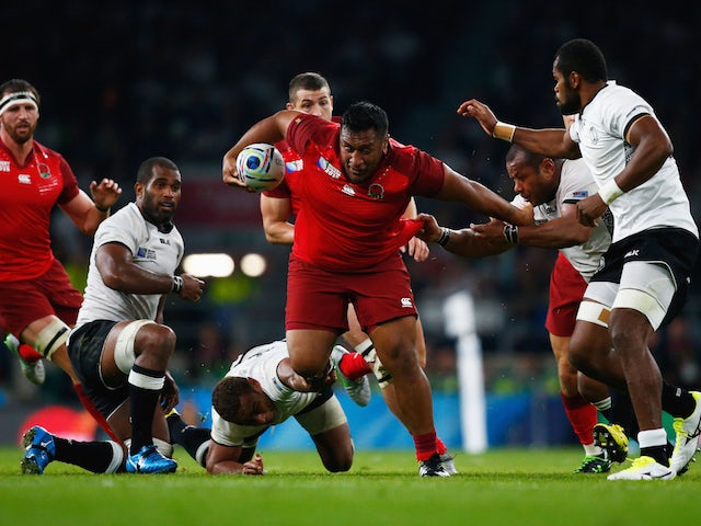 Mako Vunipola of England charges forward during the 2015 Rugby World Cup Pool A match between England and Fiji at Twickenham Stadium on September 18, 2015 in London, United Kingdom.
