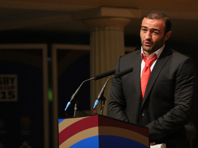Georgia player Mamuka Gorgodze speaks as the Georgia team attend the Georgia 2015 World Cup team welcoming at St Georges on September 14, 2015