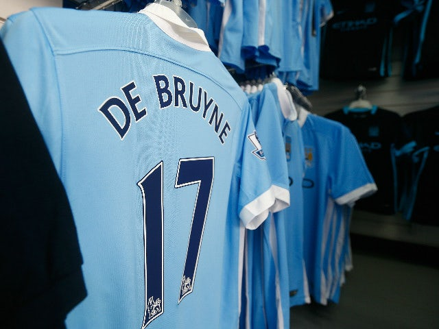 The shirt of Kevin de Bruyne of Manchester City is displayed at the shop prior to the Barclays Premier League match between Manchester City and West Ham United at Etihad Stadium on September 19, 2015 in Manchester, United Kingdom.