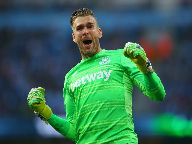 Adrian of West Ham United celebrates his team's first goal by Victor Moses (not pictured) during the Barclays Premier League match between Manchester City and West Ham United at Etihad Stadium on September 19, 2015 in Manchester, United Kingdom.