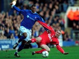 Marcus Bent of Ipswich battles for the ball with Stephen Wright of Liverpool during the FA Barclaycard Premiership match between Ipswich Town and Liverpool at Portman Road, Ipswich on February 9, 2002