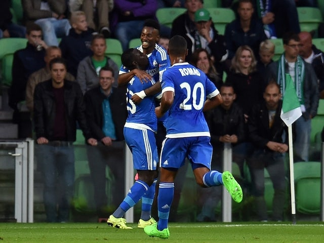 Marseille´s players celebrate during the UEFA Europe League Group F football match between FC Groningen and Olympique de Marseille at the Euroborg stadium in Groningen, Netherlands on September 17, 2015.