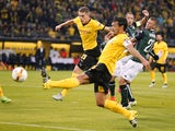 Dortmund's defender Matthias Ginter (L) and Dortmund's defender Mats Hummels (C) vie for the ball with Krasnodar's defender from Iceland Ragnar Sigurdsson (R) during the UEFA Europa League Group C football match between Borussia Dortmund and FC Krasnodar
