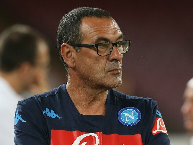 Head coach of Napoli Maurizio Sarri looks on during the Serie A match between SSC Napoli and SS Lazio at Stadio San Paolo on September 20, 2015 in Naples, Italy.