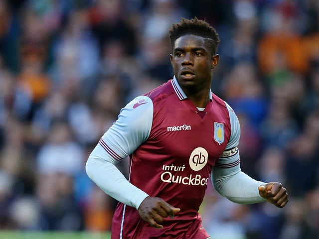 Micah Richards of Aston Villa looks on during the pre season friendly between Wolverhampton Wanderers and Aston Villa at Molineux on July 28, 2015