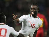 Senegal's Moussa Konate celebrates after scoring a goal during the International Friendly football match between Senegal and Ghana on March 28, 2015