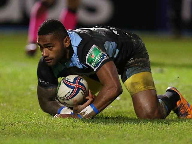 Niko Matawalu of Glasgow scores atry only to have it dissallowed during the The Heineken Cup Pool 2 Match between Glasgow Warriors and Cardiff Blues at Scotstoun Stadium, on December 13, 2013