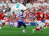 Nick Blackman of Reading scores his sides first goal during the Sky Bet Championship match between Bristol City and Reading at Ashton Gate on September 19, 2015