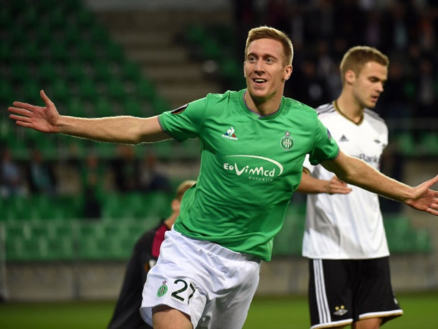 Saint-Etienne's Slovenian forward Robert Beric celebrates after scoring a goal during the Europa League football match between AS Saint-Etienne and Rosenborg Ballklub on September 17, 2015