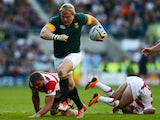 South Africa's hooker Adriaan Strauss runs through to score a try during a Pool B match of the 2015 Rugby World Cup between South Africa and Japan at the Brighton community stadium in Brighton, south east England on September 19, 2015