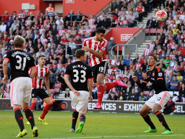 Graziano Pelle of Southampton (19) scores their second goal with a header during the Barclays Premier League match between Southampton and Manchester United at St Mary's Stadium on September 20, 2015