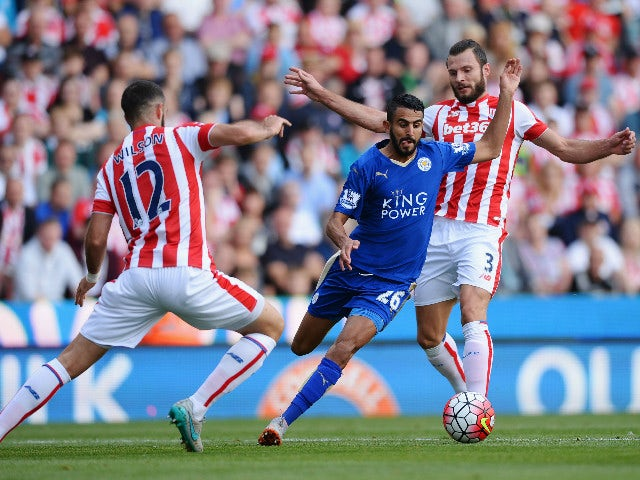 Riyad Mahrez of Leicester City and Marc Wilson of Stoke City compete for the ball during the Barclays Premier League match between Stoke City and Leicester City at Britannia Stadium on September 19, 2015 in Stoke on Trent, United Kingdom.