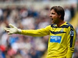 Tim Krul of Newcastle United in action during the Barclays Premier League match between Newcastle United and Arsenal at St James' Park on August 29, 2015 in Newcastle upon Tyne, United Kingdom.