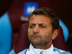 Tim Sherwood Manager of Aston Villa looks on prior to the Barclays Premier League match between Aston Villa and West Bromwich Albion at Villa Park on September 19, 2015 in Birmingham, United Kingdom.