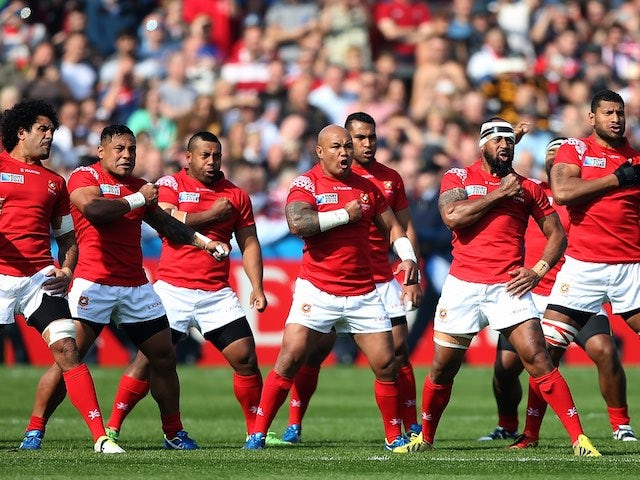 The Tonga team perform their Haka prior to the Rugby World Cup match with Georgia on September 19, 2015