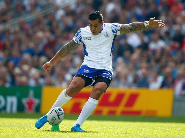 Samoa's Tusi Pisi kicks at goal during the Rugby World Cup game with the USA on September 20, 2015