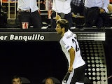 Valencia's Portuguese midfielder Andre Gomes celebrates his goal during the UEFA Champions League group H football match Valencia CF vs FC Zenit at the Mestalla stadium in Valencia on September 16, 2015