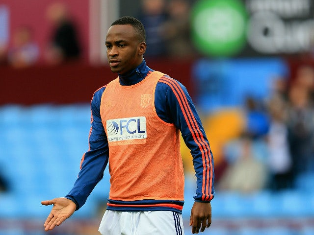 Saido Berahino of West Bromwich Albion warms up prior to the Barclays Premier League match between Aston Villa and West Bromwich Albion at Villa Park on September 19, 2015 in Birmingham, United Kingdom.