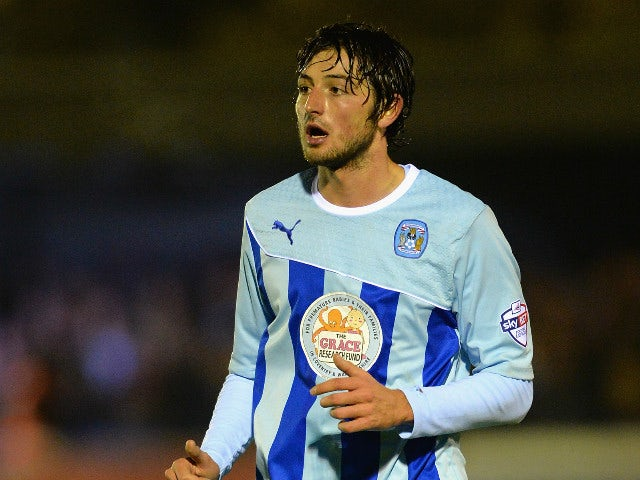 Adam Barton of Coventry City in action during the FA Cup First Round match between AFC Wimbledon and Coventry City at The Cherry Red Records Stadium on November 8, 2013 in Kingston upon Thames, England