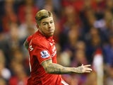 Alberto Moreno of Liverpool during the Barclays Premier League match between Liverpool and A.F.C. Bournemouth at Anfield on August 17, 2015