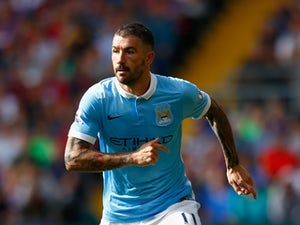Aleksandar Kolarov of Manchester City in action during the Barclays Premier League match between Crystal Palace and Manchester City at Selhurst Park on September 12, 2015