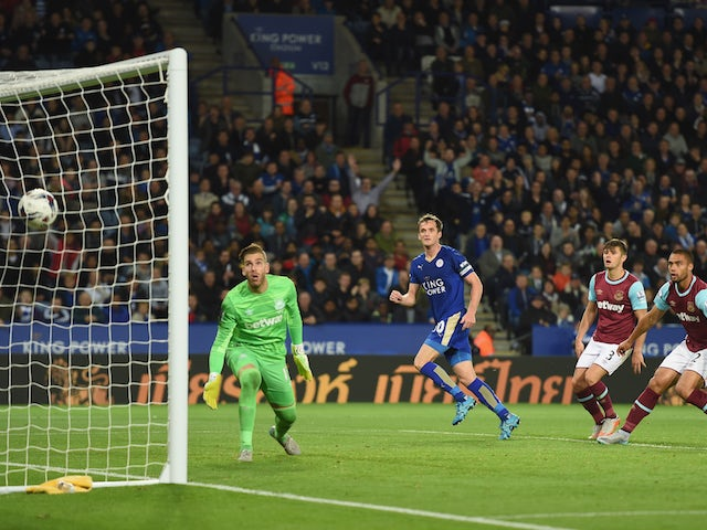 Andy King of Leicester scores to make it 2-1 during the Capital One Cup Third Round match between Leicester City and West Ham United at The King Power Stadium on September 22, 2015 in Leicester, England.
