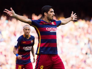 Luis Suarez of FC Barcelona celebrates after scoring his team's second goal during the La Liga match between FC Barcelona and UD Las Palmas at Camp Nou on September 26, 2015