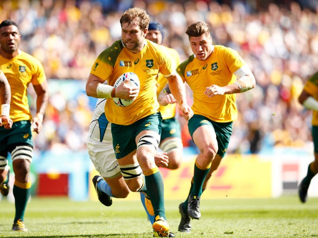 Ben McCalman of Australia runs in to score their fifth try during the 2015 Rugby World Cup Pool A match between Australia and Uruguay at Villa Park on September 27, 2015
