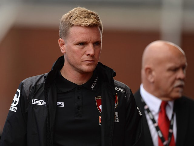 Eddie Howe Manager of Bournemouth looks on prior to the Barclays Premier League match between Stoke City and A.F.C. Bournemouth at Britannia Stadium on September 26, 2015