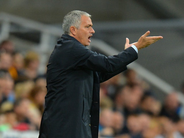 Jose Mourinho Manager of Chelsea gestures during the Barclays Premier League match between Newcastle United and Chelsea at St James' Park on September 26, 2015 in Newcastle upon Tyne, United Kingdom.