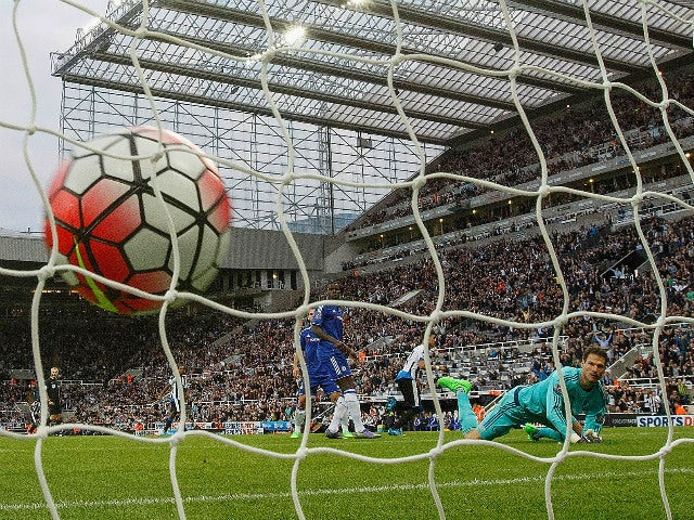 Asmir Begovic of Chelsea watches the ball hit the net after Ayoze Perez of Newcastle United scored the opener during the Barclays Premier League match between Newcastle United and Chelsea at St James' Park on September 26, 2015 in Newcastle upon Tyne, Uni