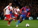 Palace's Wilfried Zaha looks to break clear during the Capital One Cup Third Round match between Crystal Palace and Charlton Athletic at Selhurst Park on September 23, 2015