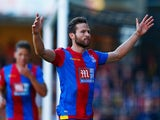 Yohan Cabaye of Crystal Palace celebrates as he scores their first goal from a penalty during the Barclays Premier League match between Watford and Crystal Palace at Vicarage Road on September 27, 2015