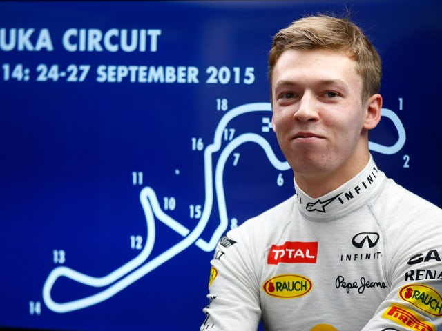 Daniil Kvyat of Russia and Infiniti Red Bull Racing looks on in the garage during practice for the Formula One Grand Prix of Japan at Suzuka Circuit on September 25, 2015