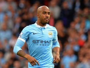 Fabian Delph of Manchester City during the Barclays Premier League match between Manchester City and Watford at the Etihad Stadium on August 29, 2015