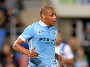 Fernando Reges of Manchester City in action during the international friendly match between Melbourne City and Manchester City at Cbus Super Stadium on July 18, 2015