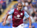 Gabriel Agbonlahor of Leicester in action during the Barclays Premier League match between Leicester City and Aston Villa on September 13, 2015