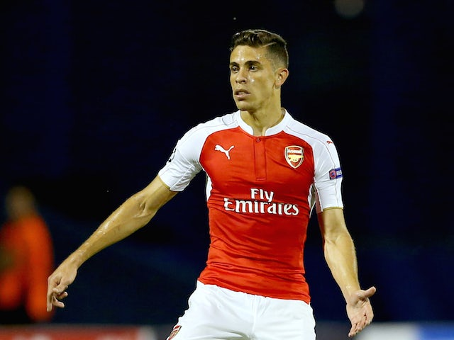 Gabriel of Arsenal runs with the ball during the UEFA Champions League Group F match between Dinamo Zagreb and Arsenal at Maksimir Stadium on September 16, 2015 in Zagreb, Croatia.