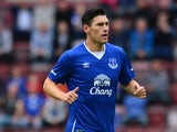 Gareth Barry of Everton in action during a pre season friendly match between Heart of Midlothian and Everton FC at Tynecastle Stadium on July 26, 2015