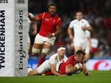 Gareth Davies scores a try for Wales during the Rugby World Cup game with England on September 26, 2015