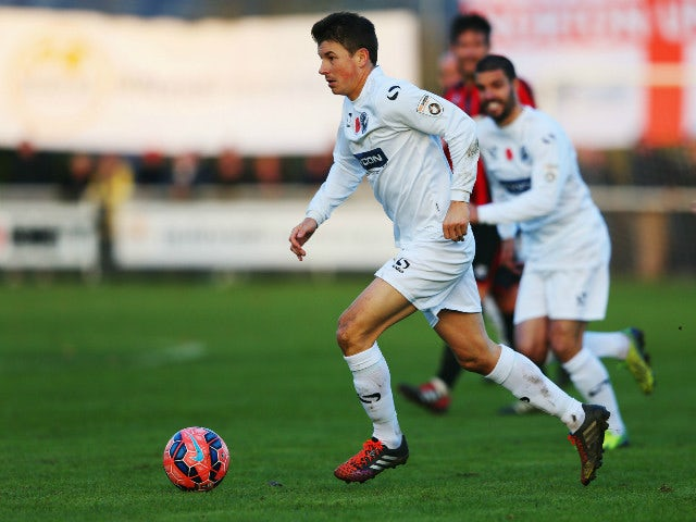 John Oster of Gateshead in action during the FA Cup first round match between Norton United and Gateshead at Smallthorne on November 9, 2014 in Stoke on Trent, England.