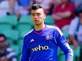 Paulo Gazzaniga of FC Southampton runs with the ball during the friendly match between FC Groningen and FC Southampton at Euroborg Arena on July 18, 2015 in Groningen, Netherlands.