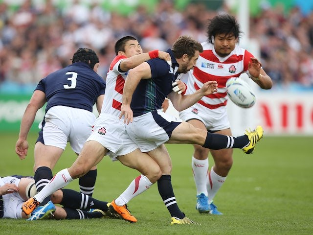 Greig Laidlaw in action for Scotland during the Rugby World Cup game with Japan on September 23, 2015