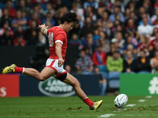 Canada's fly half Nathan Hirayama kicks a penalty during a Pool D match of the 2015 Rugby World Cup between Italy and Canada at Elland Road in Leeds, north England, on September 26, 2015.