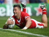 D. T. H. van der Merwe of Canada goes over for the opening try during the 2015 Rugby World Cup Pool D match between Italy and Canada at Elland Road on September 26, 2015 in Leeds, United Kingdom.