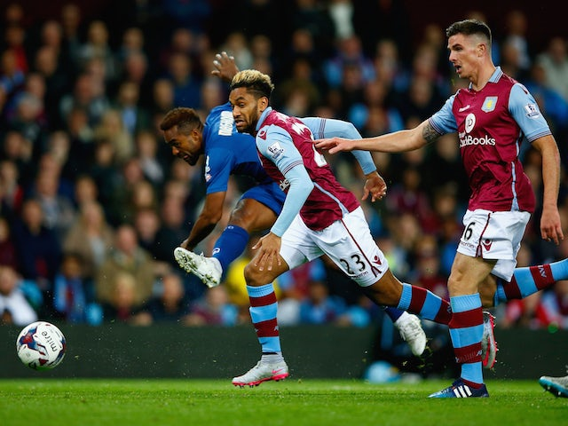 Jacques Maghoma of Birmingham City beats Jordan Amavi of Aston Villa to shoot at goal during the Capital One Cup third round match between Aston Villa and Birmingham City at Villa Park on September 22, 2015 in Birmingham, England.