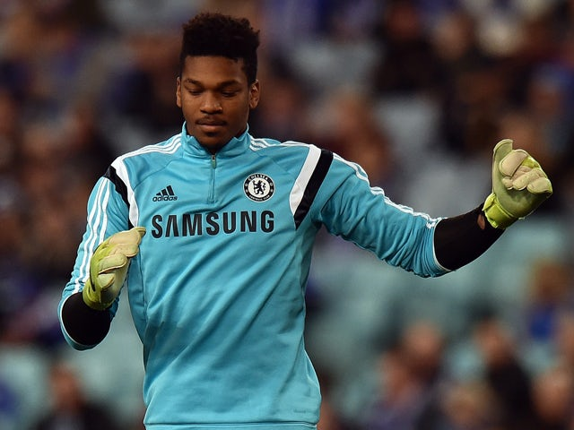 Chelsea football goalkeeper Jamal Blackman warms up prior to a friendly football match against Sydney FC at the ANZ Stadium in Sydney on June 2, 2015